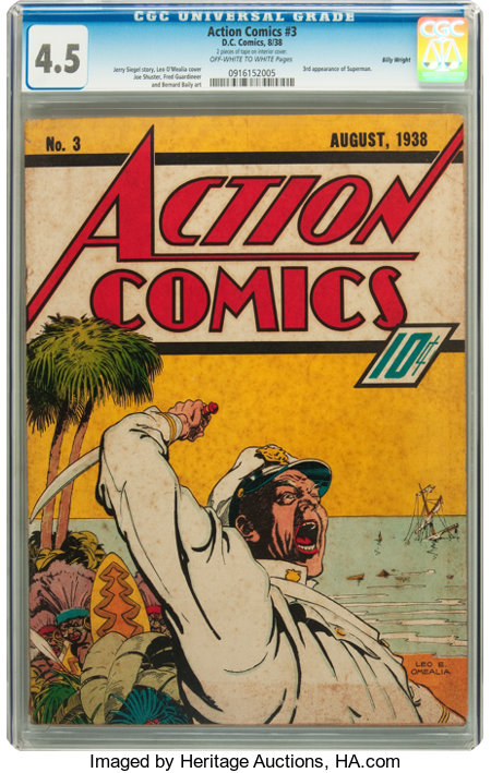 Action Comics #3 Billy Wright pedigree (DC, 1938) CGC VG+ 4.5 Off-white to white pages....