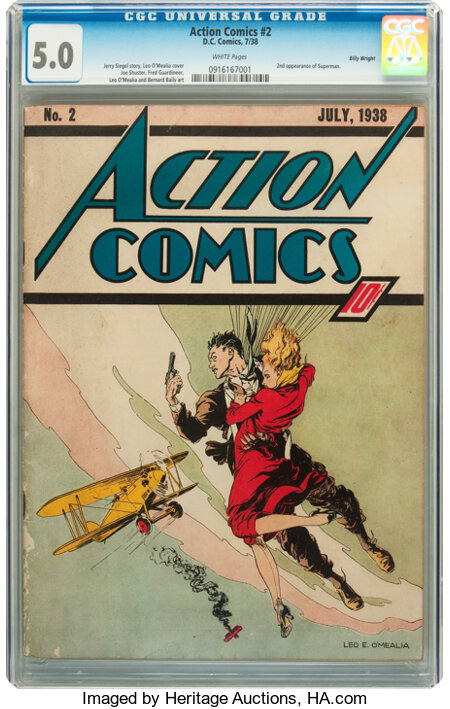 Action Comics #2 Billy Wright pedigree (DC, 1938) CGC VG/FN 5.0 White pages....