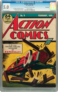 Action Comics #9 Billy Wright pedigree (DC, 1939) CGC VG/FN 5.0 Off-white to white pages