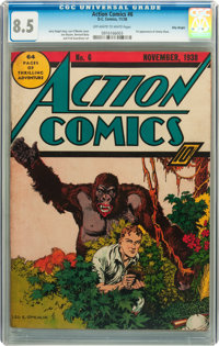 Action Comics #6 Billy Wright pedigree (DC, 1938) CGC VF+ 8.5 Off-white to white pages