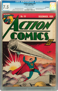 Action Comics #19 Billy Wright pedigree (DC, 1939) CGC VF- 7.5 Off-white to white pages