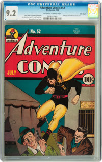 Adventure Comics #52 Billy Wright pedigree (DC, 1940) CGC NM- 9.2 Off-white to white pages