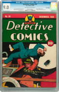 Golden Age (1938-1955):Superhero, Detective Comics #34 Billy Wright pedigree (DC, 1939) CGC VF/NM 9.0 Off-white to white pages....