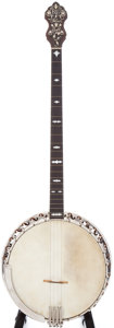 Musical Instruments:Banjos, Mandolins, & Ukes, 1920s Bacon & Day Silver Bell #1 Brown Stain Tenor Banjo, Serial # 10163....