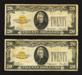 Small Size:Gold Certificates, Two Fr. 2402 $20 1928 Gold Certificates. Fine.. ... (Total: 2 notes)