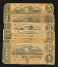Confederate Notes:1864 Issues, T69 $5 1864. Eight Notes.. ... (Total: 8 notes)