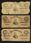 Confederate Notes:1864 Issues, T66 $50 1864. Three Notes.. ... (Total: 3 notes)