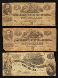 Confederate Notes:1862 Issues, T42 $2 1862 Two Examples. T44 $1 1862.. ... (Total: 3 notes)