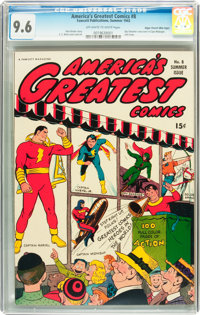America's Greatest Comics #8 Mile High pedigree (Fawcett, 1943) CGC NM+ 9.6 Off-white to white pages