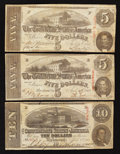 Confederate Notes:1863 Issues, T59 $10 1863. T60 $5 1863 Two Examples.. ... (Total: 3 notes)