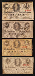 Confederate Notes:1863 Issues, T63 50 Cents 1863 Three Examples. T72 50 Cents 1864.. ... (Total: 4notes)