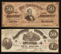 Confederate Notes:1864 Issues, Two Different Confederate $50s.. ... (Total: 2 notes)