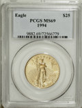 Modern Bullion Coins: , 1994 G$25 Half-Ounce Gold Eagle MS69 PCGS. PCGS Population (574/5).NGC Census: (370/4). Mintage: 62,400. Numismedia Wsl. P...