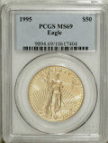 Modern Bullion Coins: , 1995 G$50 One-Ounce Gold Eagle MS69 PCGS. PCGS Population (379/0).NGC Census: (469/53). Mintage: 200,636. Numismedia Wsl. ...