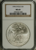 Modern Bullion Coins: , 1996 $1 Silver Eagle MS69 NGC. PCGS Population (2385/0). Mintage:3,603,386. Numismedia Wsl. Price: $112...
