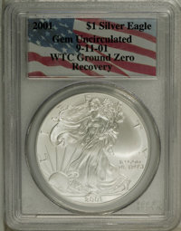 2001 $1 Silver Eagle Gem Uncirculated Collector's Universe. Ex: 9-11-01 WTC Ground Recovery. (#9954)...(PCGS# 9954)