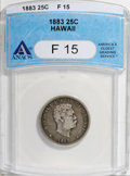 Coins of Hawaii: , 1883 25C Hawaii Quarter F15 ANACS. NGC Census: (3/636). PCGSPopulation (14/1062). Mintage: 500,000. (#10987)...
