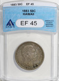 Coins of Hawaii: , 1883 50C Hawaii Half Dollar XF45 ANACS. NGC Census: (24/197). PCGSPopulation (33/307). Mintage: 700,000. (#10991)...