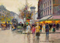 Fine Art - Painting, European:Modern  (1900 1949), EDOUARD-LÉON CORTÈS (French, 1882-1969). Grands Boulevards etPorte St. Denis Paris, circa 1958. Oil on canvas . 13 x 18...(Total: 2 Items)