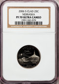 Proof Statehood Quarters, 2006-S 25C Nebraska Clad PR70 Ultra Cameo NGC. NGC Census: (0). PCGS Population (181). Numismedia Wsl. Price for problem f...