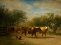 American:Hudson River School, JAMES MCDOUGAL HART (American, 1828-1901). A Herd of Cattlealong a Country Road. Oil on canvas. 42-1/2 x 57 inches (108...
