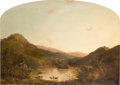 Fine Art - Painting, American:Antique  (Pre 1900), WALTER MASON ODDIE (American, 1808-1865). Three Cows Watering inan Extensive Hilly Landscape, 1851. Oil on canvas. 38 x...