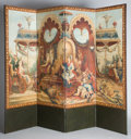 19th Century European:Orientalism, A HAND-PAINTED OIL ON CANVAS FOLDING SCREEN WITH PAPER BACK . 19th century . 110 x 108 inches (279.4 x 274.3 cm). ... (Total: 2 Items)