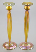 Art Glass:Tiffany , A PAIR OF TIFFANY STUDIOS FAVRILE GLASS CANDLESTICKS . Circa 1910.Marks: LCT, FAVRILE, 1825. 12 inches high (30.5 cm). ...(Total: 2 Items)