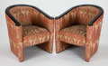 Furniture , A PAIR OF FRENCH ART DECO STYLE LACQUERED AND UPHOLSTERED CLUB CHAIRS . Late 20th century . 29-1/2 x 27-1/2 x 29-1/2 inches ... (Total: 2 Items)