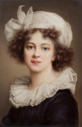 Decorative Arts, Continental:Other , A FRAMED KPM PORCELAIN PLAQUE: LOUISE-ELISABETH VIGEE LEBRUN . Circa 1900. Marks: (scepter) KPM. 7 x 5-1/8inch...