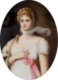 A GERMAN PORCELAIN PLAQUE: QUEEN LOUISA OF PRUSSIA Late 19th century