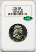 Proof Franklin Half Dollars, 1952 50C PR67 Cameo NGC. CAC....