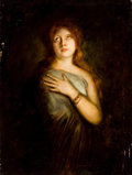 Paintings, Attributed to FRANZ SERAPH VON LENBACH (German, 1836-1904). A Red-Haired Beauty, circa 1890. Oil on canvas. 39 x 29 inch...