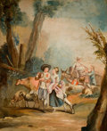 Fine Art - Painting, European:Antique  (Pre 1900), Manner of FRANÇOIS BOUCHER (French, 1703-1770). Rococo Scenewith Figures, Late 19th/Early 20th Century. Oil on canvas. ...