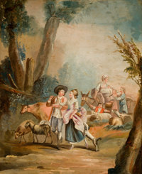 Manner of FRANÇOIS BOUCHER (French, 1703-1770) Rococo Scene with Figures, Late 19th/Early 20th Century<