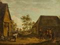Fine Art - Painting, European:Antique  (Pre 1900), Manner of DAVID TENIERS (Flemish, 1610-1690). Peasants PlayingSkittles Outside a Tavern, 19th Century. Oil on canvas. 9...