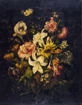 Fine Art - Painting, European:Modern  (1900 1949)  , EUROPEAN SCHOOL (20th Century). A Pair of Floral Bouquets -Roses, Tulips and Lilies on a Stone Ledge; Lilies, a Sunflower...(Total: 2 Items)