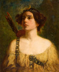 Fine Art - Painting, American:Modern  (1900 1949)  , CHARLES E. PROCTOR (American, 1891-1949). Portrait of a Lady asDiana, circa 1920s. Oil on canvas. 22-1/2 x 18-1/2 inche...