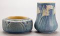 Ceramics & Porcelain, American:Modern  (1900 1949)  , A NEWCOMB ART POTTERY VASE AND SMALL BOWL . Circa 1920. Marks:NC, AFS, LH66, 1; NC, CMC, 30 A L K 31. 3-5/8 inches high...(Total: 2 Items)