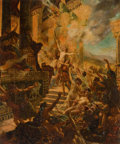 Fine Art - Sculpture, European:Other , EUROPEAN ARTIST-ILLUSTRATOR (Late 19th/Early 20th century).Burning of Persepolis. Oil on board . 22 x 18-1/2 inches(55...