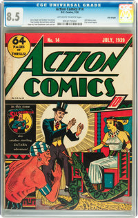 Action Comics #14 Billy Wright pedigree (DC, 1939) CGC VF+ 8.5 Off-white to white pages