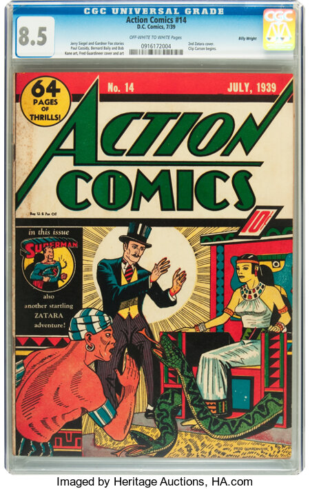 Action Comics #14 Billy Wright pedigree (DC, 1939) CGC VF+ 8.5 Off-white to white pages....