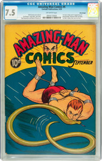 Amazing-Man Comics #5 Billy Wright pedigree (Centaur, 1939) CGC VF- 7.5 Off-white pages