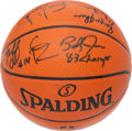 Basketball Collectibles:Programs, 1982-83 Philadelphia 76ers Team Signed Basketball - WorldChampionship Season!...