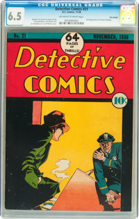 Detective Comics #21 Billy Wright pedigree (DC, 1938) CGC FN+ 6.5 Off-white to white pages