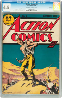 Action Comics #5 Billy Wright pedigree (DC, 1938) CGC VG+ 4.5 Off-white to white pages