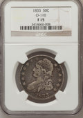 Bust Half Dollars, 1833 50C Fine 15 NGC. O-110. NGC Census: (5/1217). PCGS Population(11/1383). Mintage: 5,206,000. Numismedia Wsl. Price for...