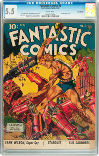 Fantastic Comics #3 Billy Wright pedigree (Fox, 1940) CGC FN- 5.5 White pages