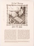 Miscellaneous:Broadside, [José Cisneros]. SIGNED. J. Carl Hertzog, 1902-1984,Broadside. El Paso, Texas Western Press, n.d. Signed by J...