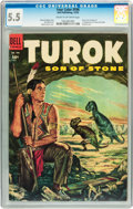 Golden Age (1938-1955):Miscellaneous, Four Color #596 Turok Son of Stone (#1) (Dell, 1954) CGC FN- 5.5 Cream to off-white pages....